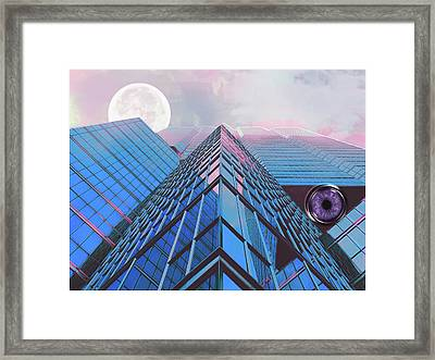 Surreality Of Blue Peaks Moon And Eye In Pink Lavender Cloud Mist Framed Print by Elaine Plesser