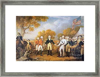 Surrender Of General Burgoyne At Saratoga, New York, 17 October 1777 Framed Print by John Trumbull