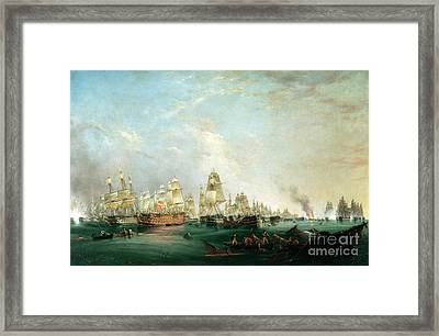 Surrender Of The Santissima Trinidad To Neptune The Battle Of Trafalgar Framed Print