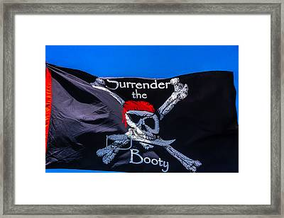 Surrenderthe Booty Flag Framed Print