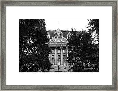 Surrogates Court Exterior Mono Framed Print