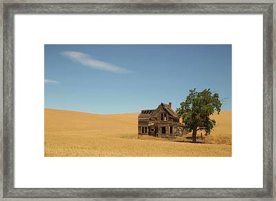 Surrounded By Amber Waves Of Grain Framed Print by Angie Vogel