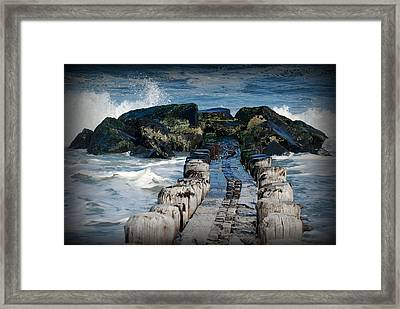 Surrounded By The Ocean - Jersey Shore Framed Print by Angie Tirado