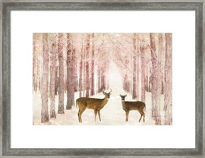Deer Woodlands Nature Print - Dreamy Surreal Deer Woodlands Nature Pink Forest Landscape Framed Print by Kathy Fornal