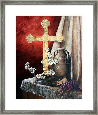 Survey The Wonderous Cross Framed Print by Cynara Shelton