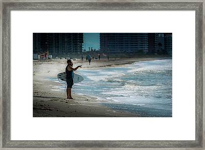Surveying The Waves Framed Print