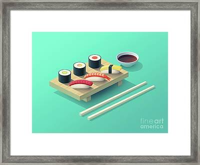Sushi Set Isometric - Teal Framed Print