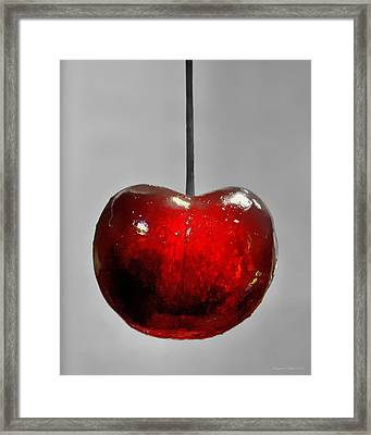 Framed Print featuring the photograph Suspended Cherry by Suzanne Stout