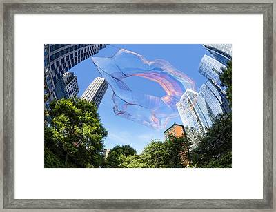 Suspended Colorful Fibers Over Boston Framed Print by Susan Candelario