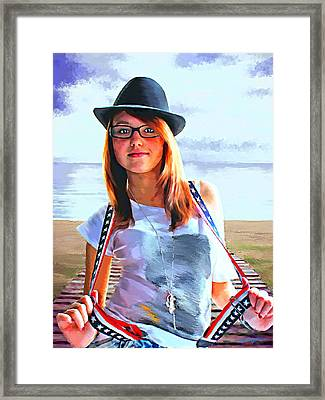Suspenders By The Sea Framed Print by Tim Tompkins