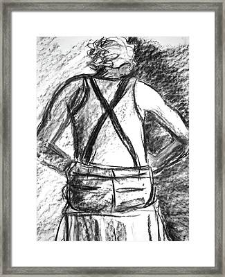 Framed Print featuring the painting Suspenders by Cathie Richardson