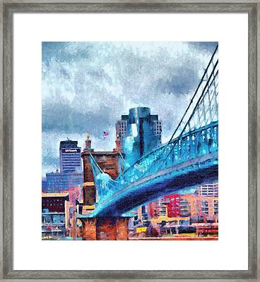 Suspension Bridge And Cincinnati Framed Print by Dan Sproul