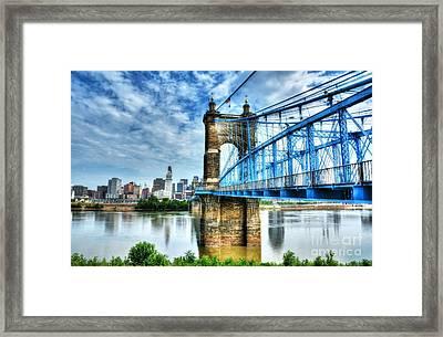 Suspension Bridge At Cincinnati Framed Print by Mel Steinhauer