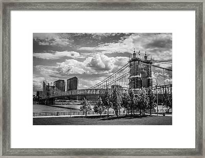Suspension Bridge Black And White Framed Print by Scott Meyer