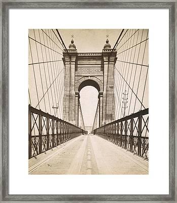 Suspension Bridge Spanning The Ohio Framed Print