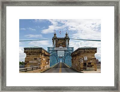 Suspension Bridge Wide Angel Framed Print by Scott Meyer