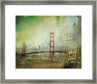 Framed Print featuring the photograph Suspension - Golden Gate Bridge San Francisco Photography Mixed Media Collage by Melanie Alexandra Price