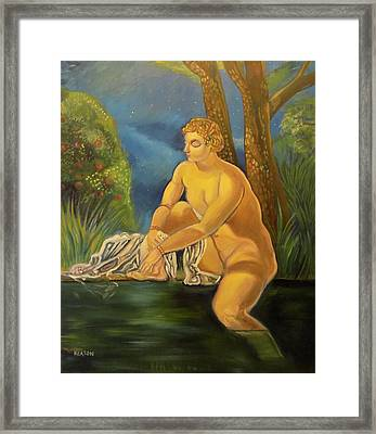 Framed Print featuring the painting Suzanna Bathing In The Moonlight. by John Keaton