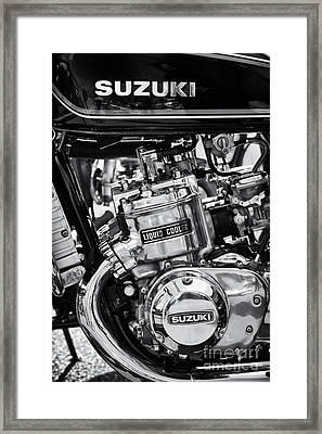Suzuki Gt750 Monochrome Framed Print by Tim Gainey