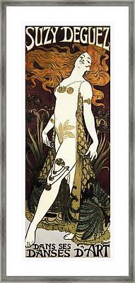Suzy Deguez - Folies Bergere  1905 Framed Print by Daniel Hagerman