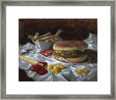 Suzy-q Double Cheeseburger Framed Print by Timothy Jones