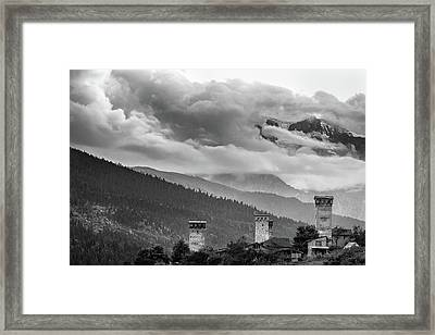 Framed Print featuring the photograph Svan Towers by Francesco Emanuele Carucci