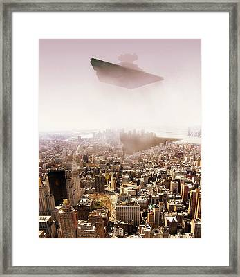 Sw Isd Imperial Star Destroyer Over Manhatan. Framed Print by HQ Photo