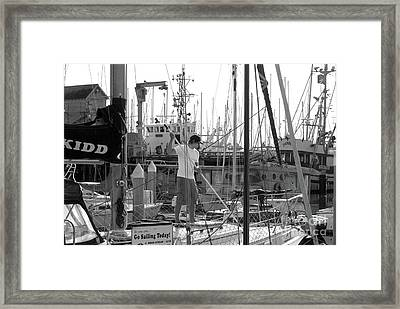 Swabbing The Deck Framed Print by Betty LaRue