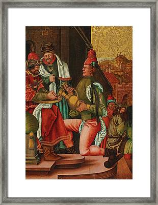 Swabian Master, Circa 1520 Pontius Pilate Washes His Hands Based On The Gospel Of Matthew, Framed Print by Celestial Images