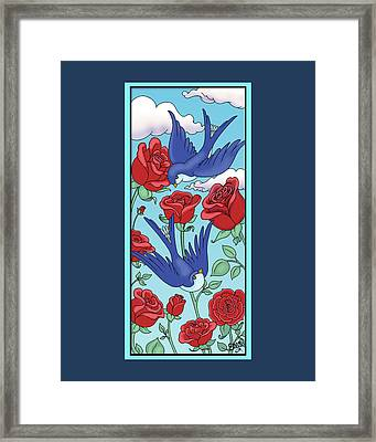 Swallows And Roses Framed Print by Eleanor Hofer