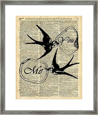 Swallows In Love,flying Birds Vintage Dictionary Art Framed Print