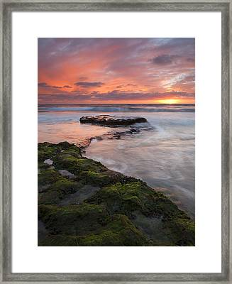 Swami's Beach Sunset Framed Print
