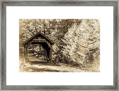 Swamp Meadow Bridge - Antiqued Framed Print by Lisa Kilby