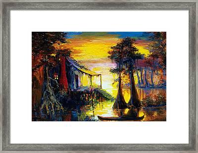 Swamp Sunset Framed Print by Saundra Bolen Samuel