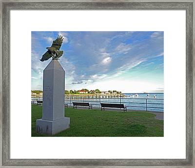 Swampscott Yacht Club Swampscott Ma Pier Eagle Statue Framed Print by Toby McGuire