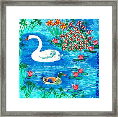 Swan And Duck Framed Print by Sushila Burgess