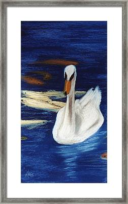 Framed Print featuring the pastel Swan And Koi by Jan Amiss