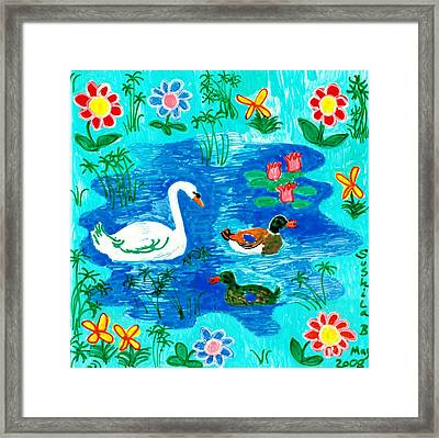 Swan And Two Ducks Framed Print by Sushila Burgess