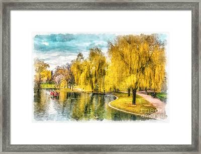 Swan Boats Boston Public Garden Framed Print by Edward Fielding