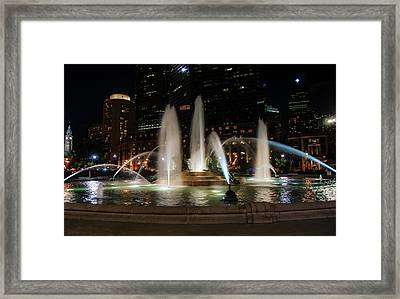 Swan Fountain In The Night Lights Framed Print by Bill Cannon