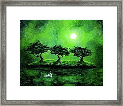 Swan In An Emerald Lake Framed Print by Laura Iverson