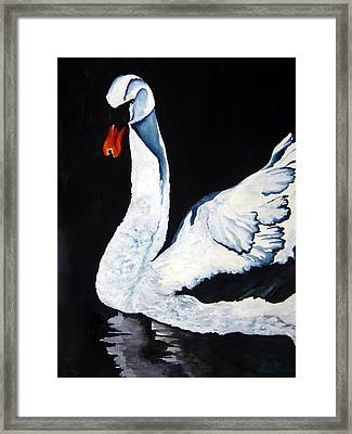 Framed Print featuring the painting Swan In Shadows by Lil Taylor