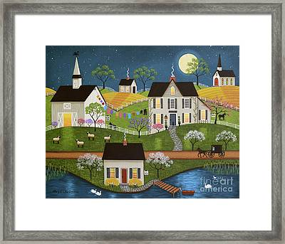 Swan Lake Farm Framed Print by Mary Charles