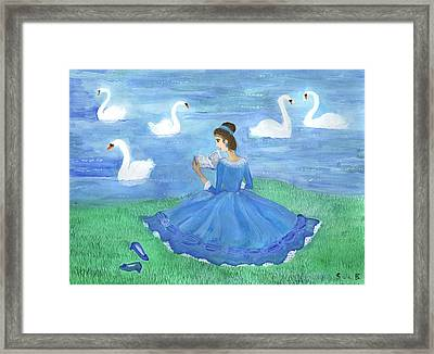 Swan Lake Reader Framed Print by Sushila Burgess