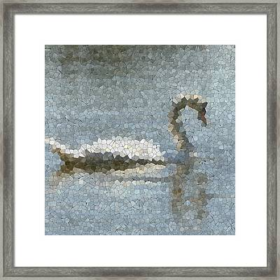 Swan On Pond Glass Mosaic Framed Print by Miroslav Nemecek