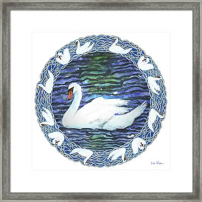 Swan With Knotted Border Framed Print by Lise Winne