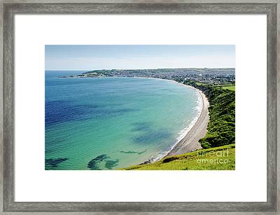 Swanage Blue The Clear Waters Of Swanage Bay In Dorset England Uk Framed Print