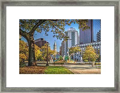 Swann Memorial Fountain City Hall Framed Print by David Zanzinger