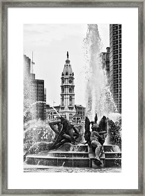Swann Memorial Fountain In Black And White Framed Print