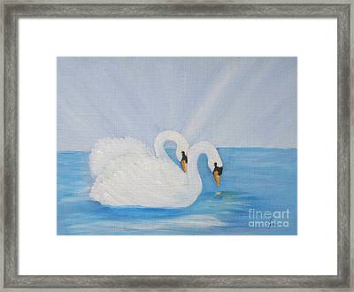 Swans On Open Water Framed Print